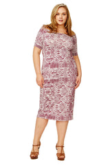 MID-LENGTH JAGGER DRESS WL PRINT - CURRANT VIPER