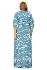 Long Caftan Dress Wl Print - Moonflower Reverie
