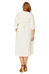 Short Caftan Dress - White, Plus Size