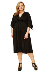 SHORT CAFTAN DRESS WL - BLACK