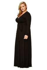 LONG WRAP DRESS WL - BLACK