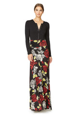 Long Full Skirt Print - Rosa