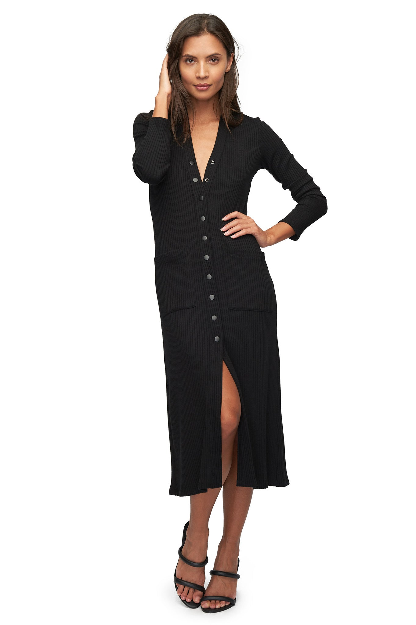 Rib Snap Sweater / Dress - Black