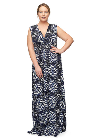 Long Sleeveless Caftan WL Print - Indigo Ikat