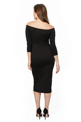 3/4 Sleeve Mid-length Jagger Dress - Black