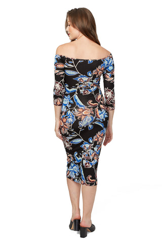 3/4 Sleeve Mid-length Jagger Dress Print - Folk Flower