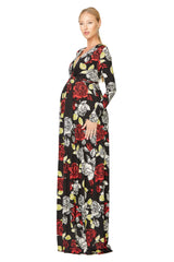 LONG SLEEVE FULL LENGTH CAFTAN DRESS Print - Rosa