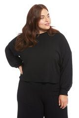 Luxe Rib Sweatshirt - Black, Plus Size