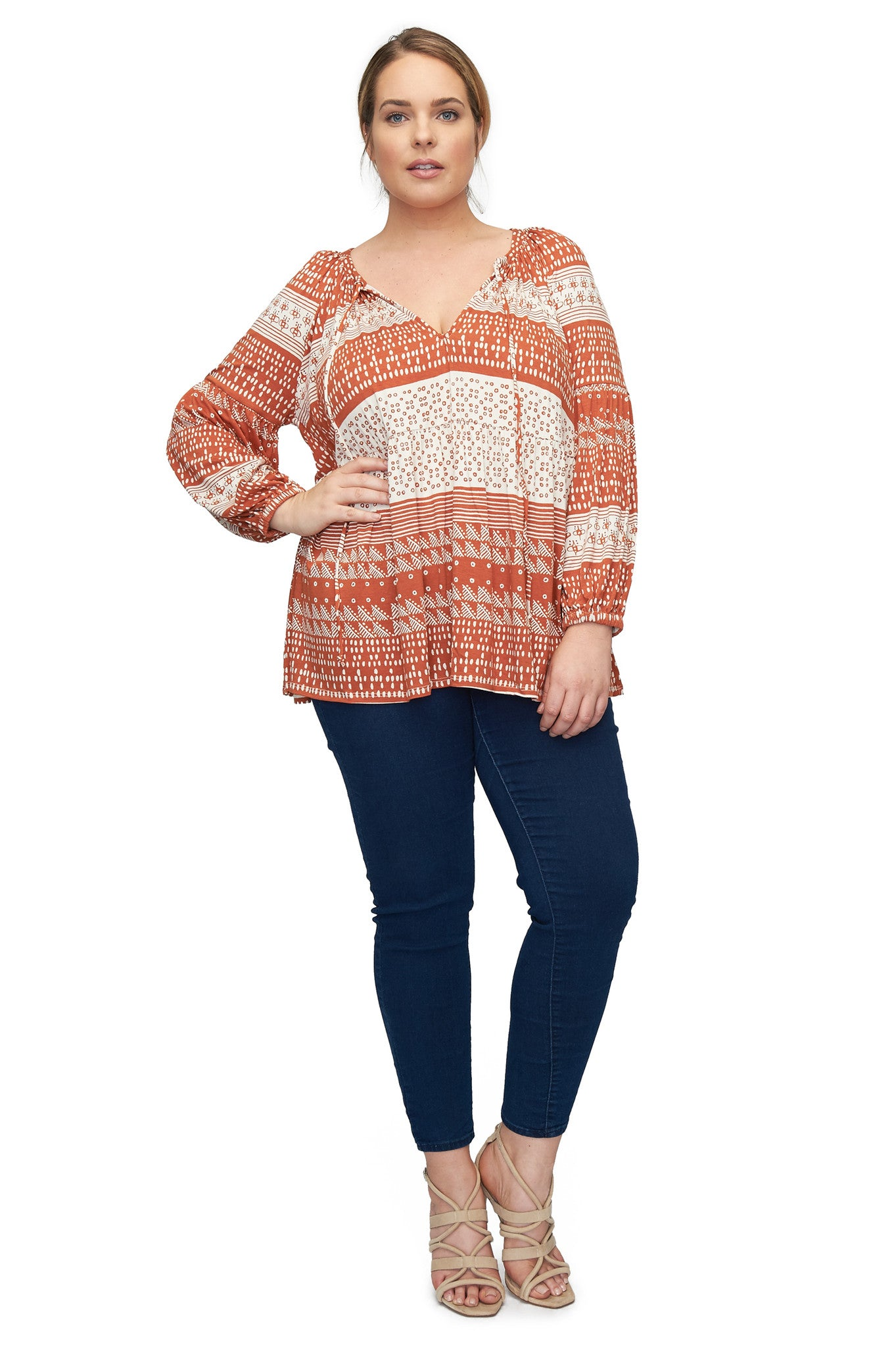Rupert Top WL Print - Copper Block Print