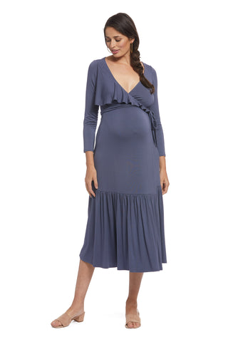 Nadine Wrap Dress - Slate, Maternity