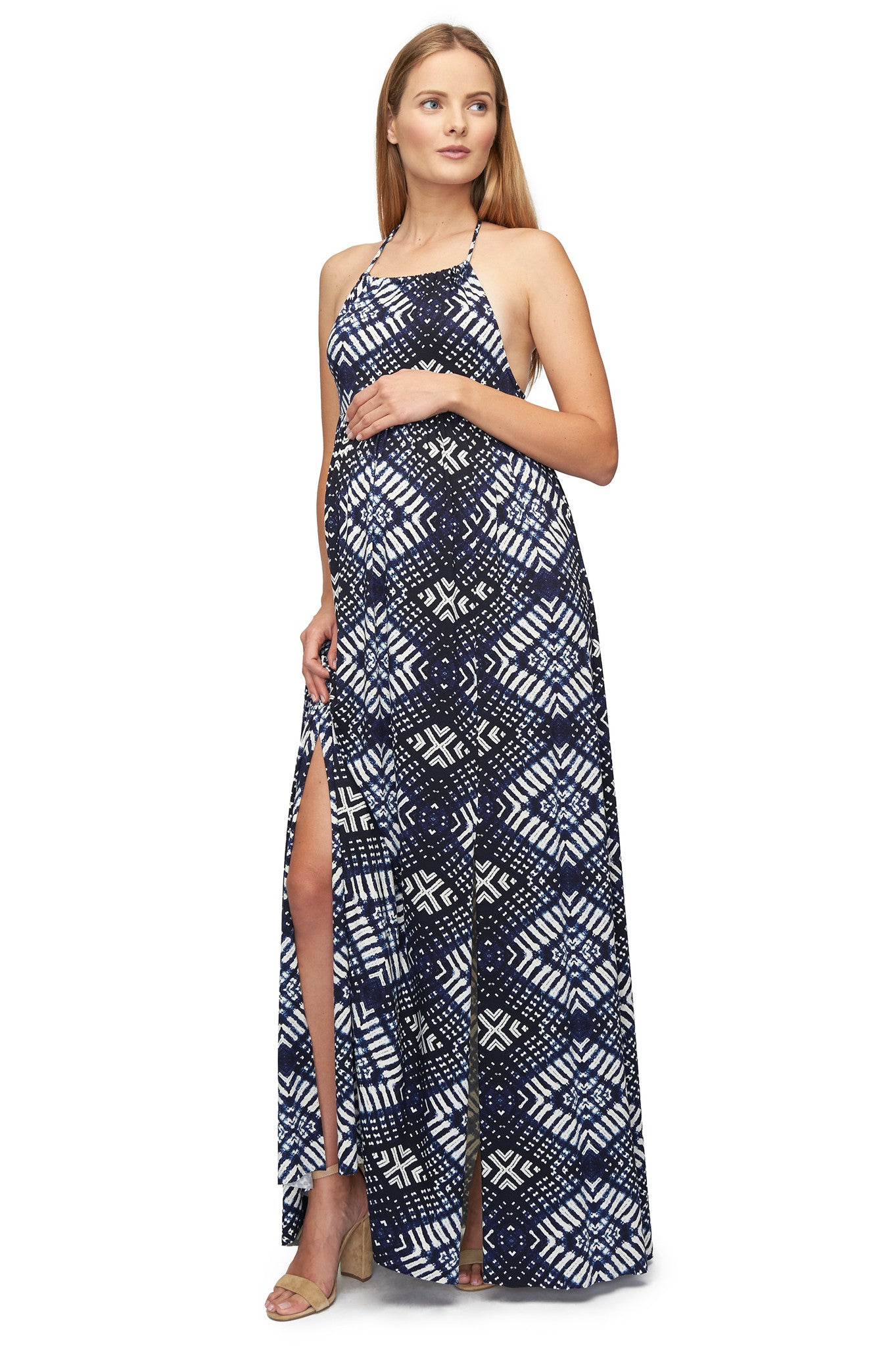 Trudee Dress Print - Indigo Ikat