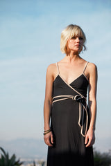 Britta Wrap Dress - Black / Bamboo