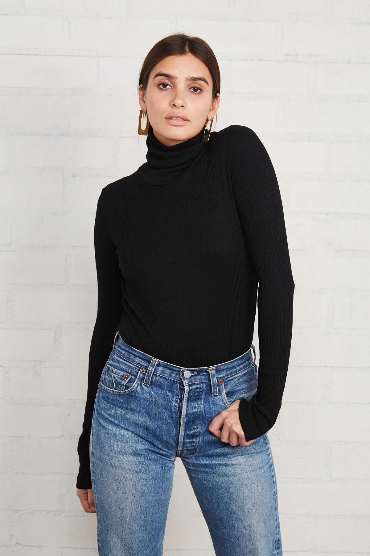 Finley Rib Sweater Turtleneck - Black