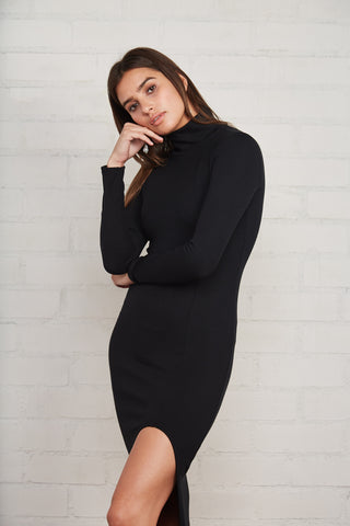 Luxe Rib Pamela Dress - Black
