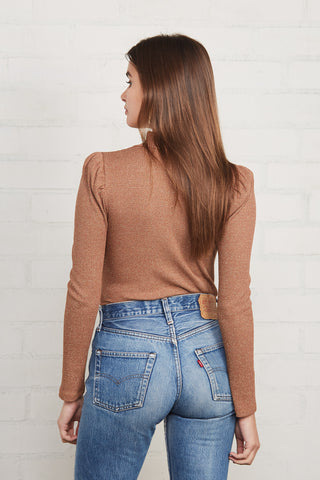 Metallic Rib Ada Top - Caramel Gold