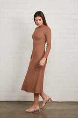 Metallic Rib Mara Dress - Caramel Gold