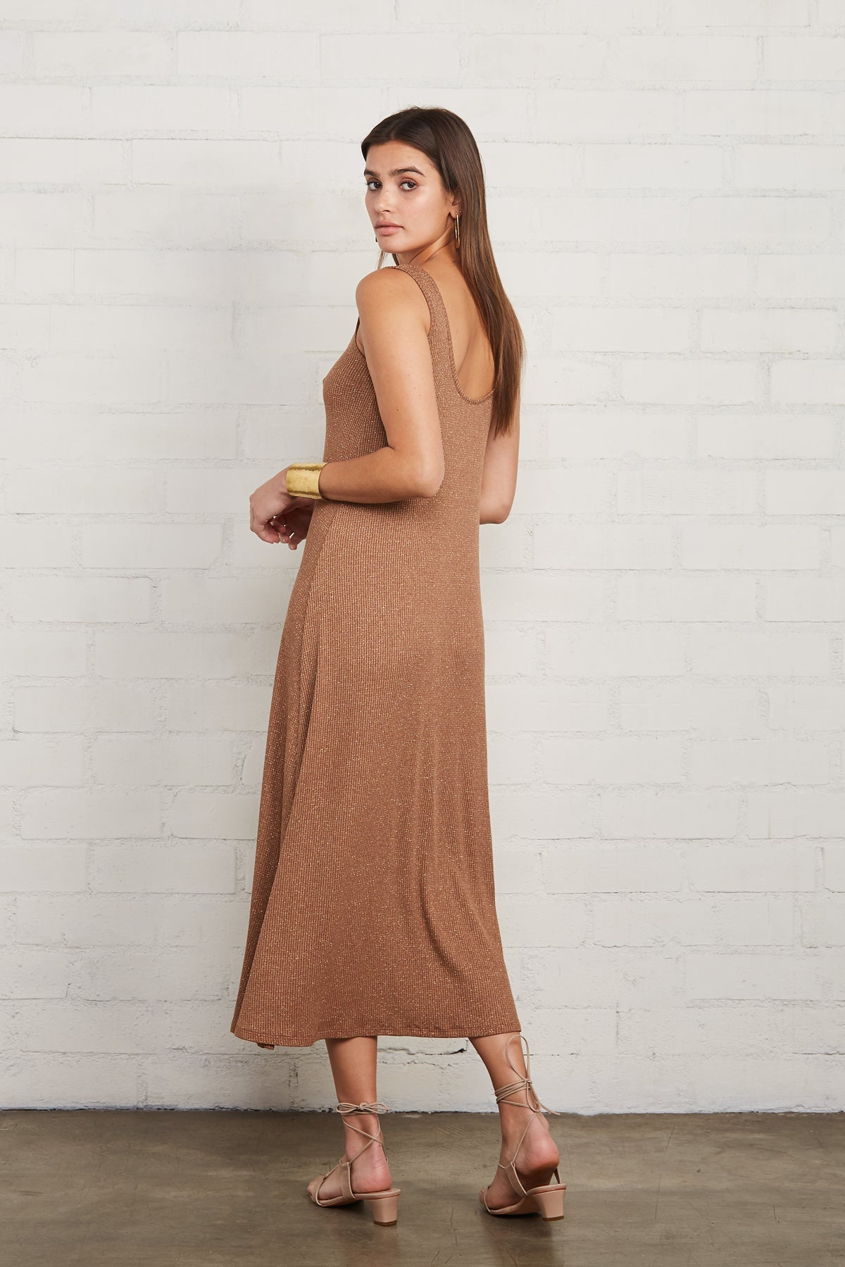 Metallic Rib Fiona Dress - Caramel Gold