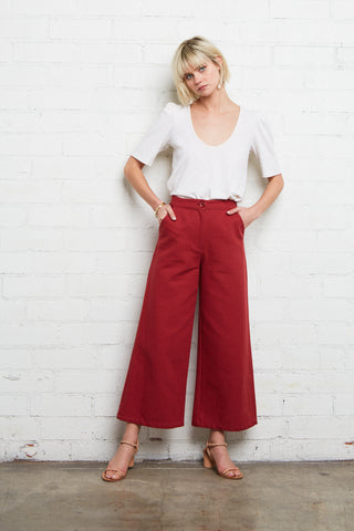 Canvas Jodie Pant - Pomegranate