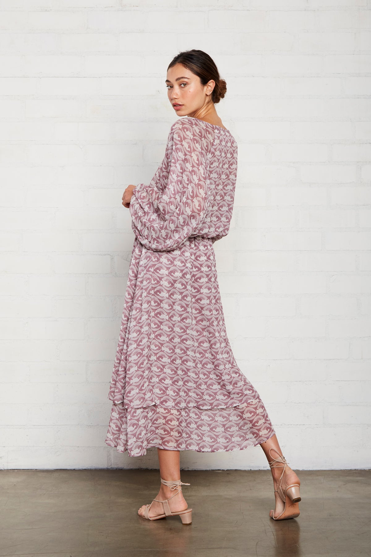 Chiffon Adrian Dress - Dove Print