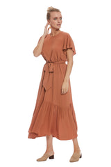 Crepe Rayon Rey Dress - Terra Cotta