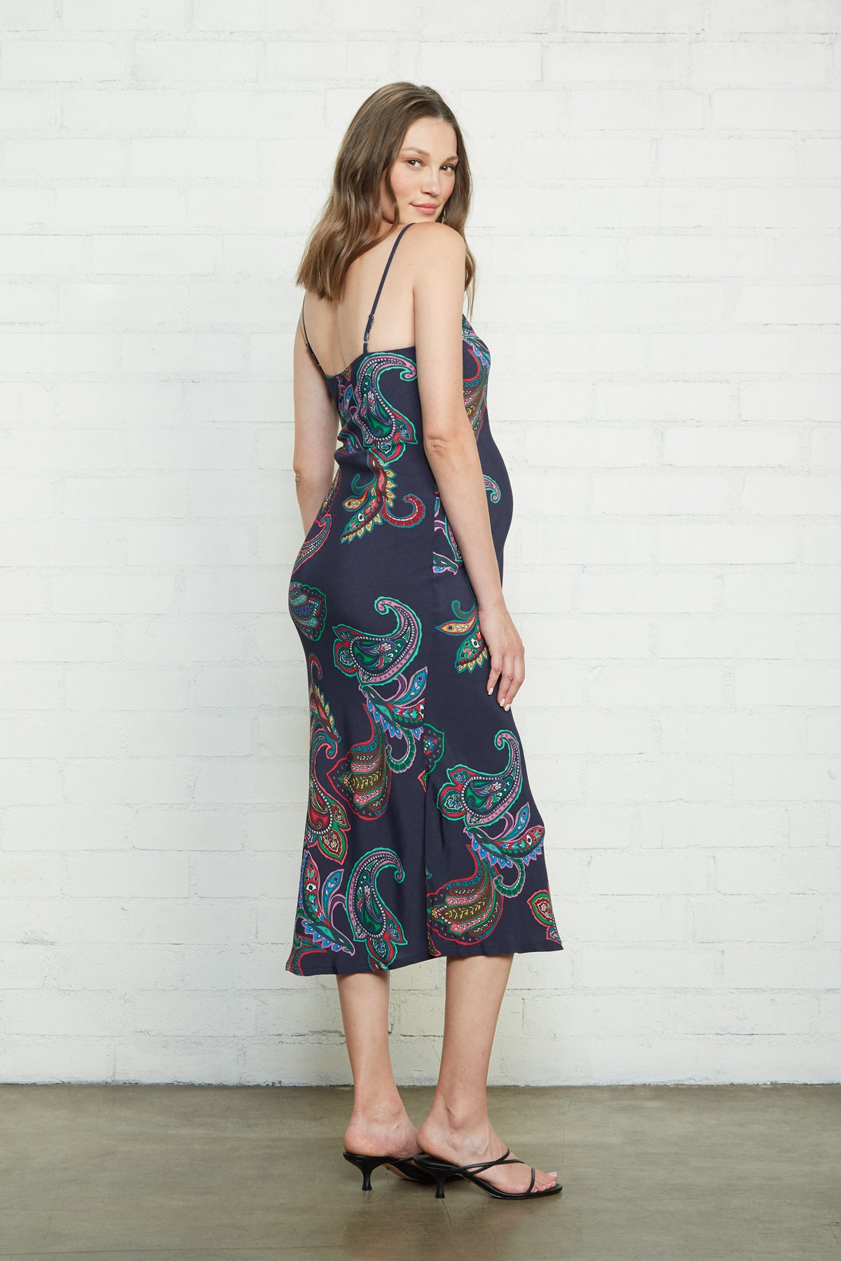Crepe Bias Slip Dress - Paisley, Maternity