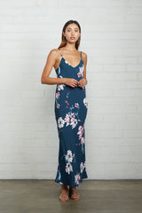 Crepe Bias Slip Dress - Teal Blossom