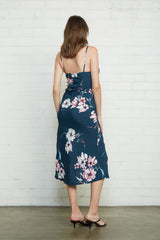 Crepe Bias Slip Dress - Teal Blossom, Maternity