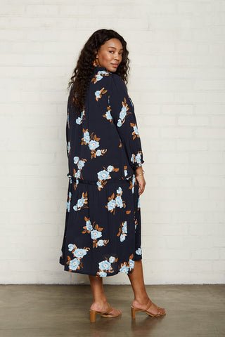 Crepe Gail Dress - Black Flower, Plus Size
