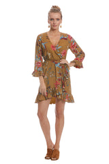 Crepe Rayon Ruffle Wrap Dress - Avian