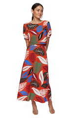 Crepe Rayon Reversible Wrap Top and Skirt Set - Leaf