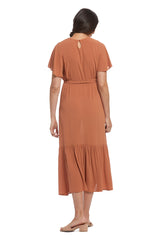 Crepe Rayon Rey Dress - Terra Cotta, Maternity