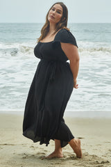 Crepe Sibil Dress - Black, Plus Size