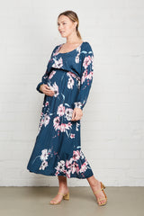 Crepe Yaritza Dress - Teal Blossom, Maternity