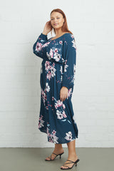 Crepe Yaritza Dress - Teal Blossom, Plus Size