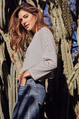 Rib Tana Top - Black / White Stripe