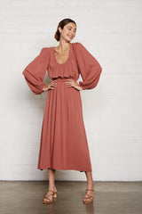Pucker Rayon Edith Dress - Rosewood