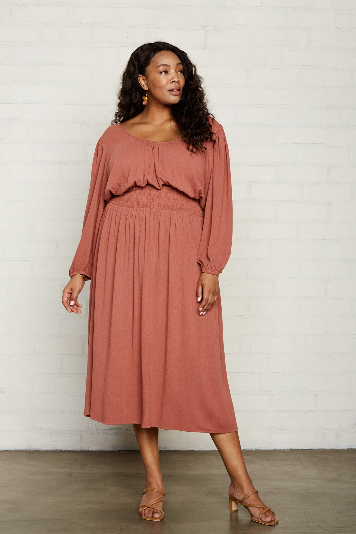 Pucker Rayon Edith Dress - Rosewood, Plus Size