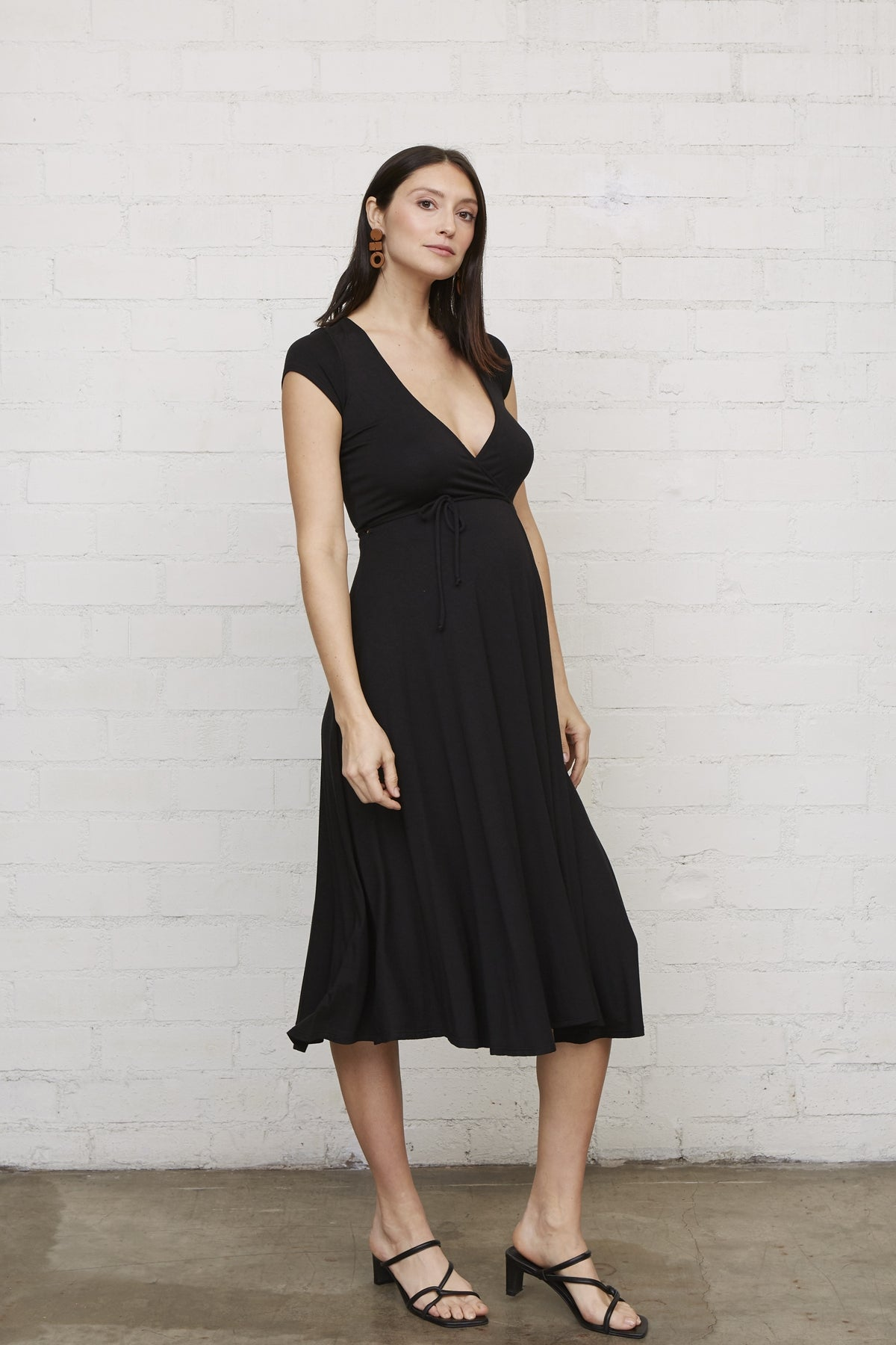 Frankie Wrap Dress - Black, Maternity