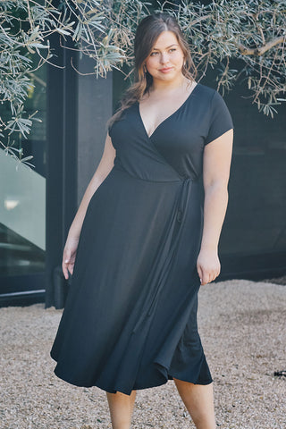 Frankie Wrap Dress - Black, Plus Size