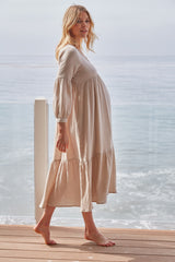 Gauze Cecelia Dress - Almond, Maternity