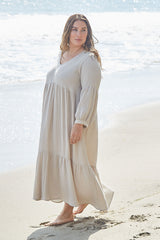 Gauze Cecelia Dress - Almond, Plus Size