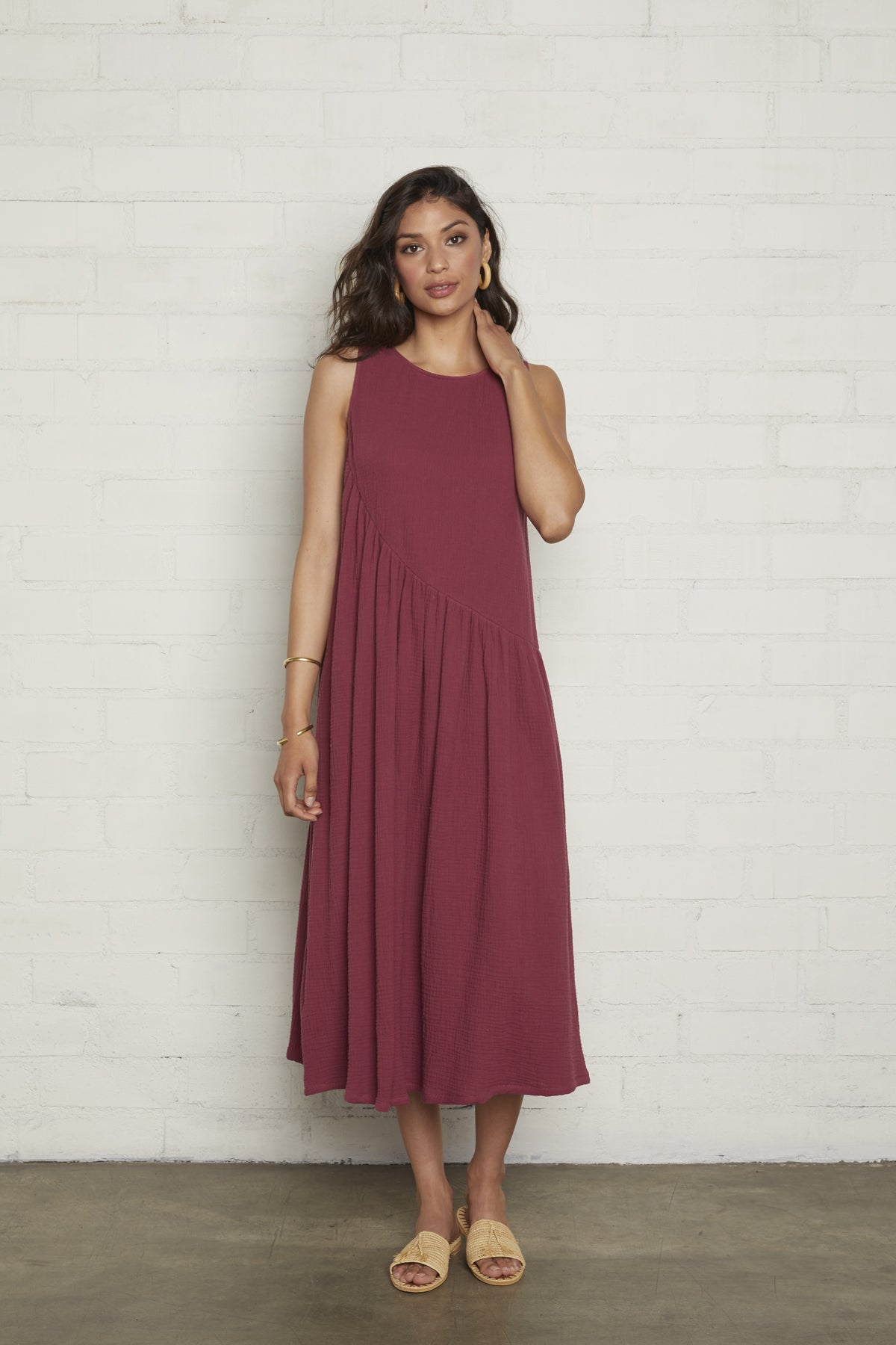Gauze Janie Dress - Raspberry