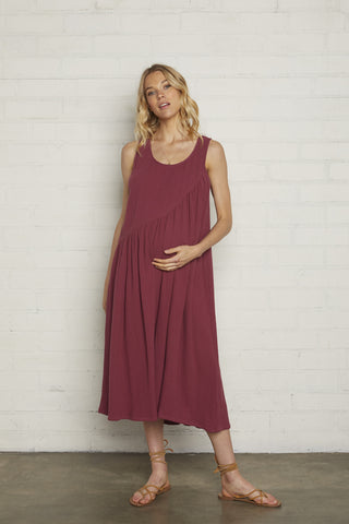 Gauze Janie Dress - Raspberry, Maternity (Back-Ordered)