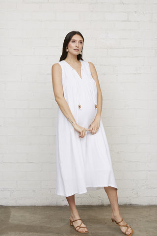 Gauze Joey Dress - White, Maternity