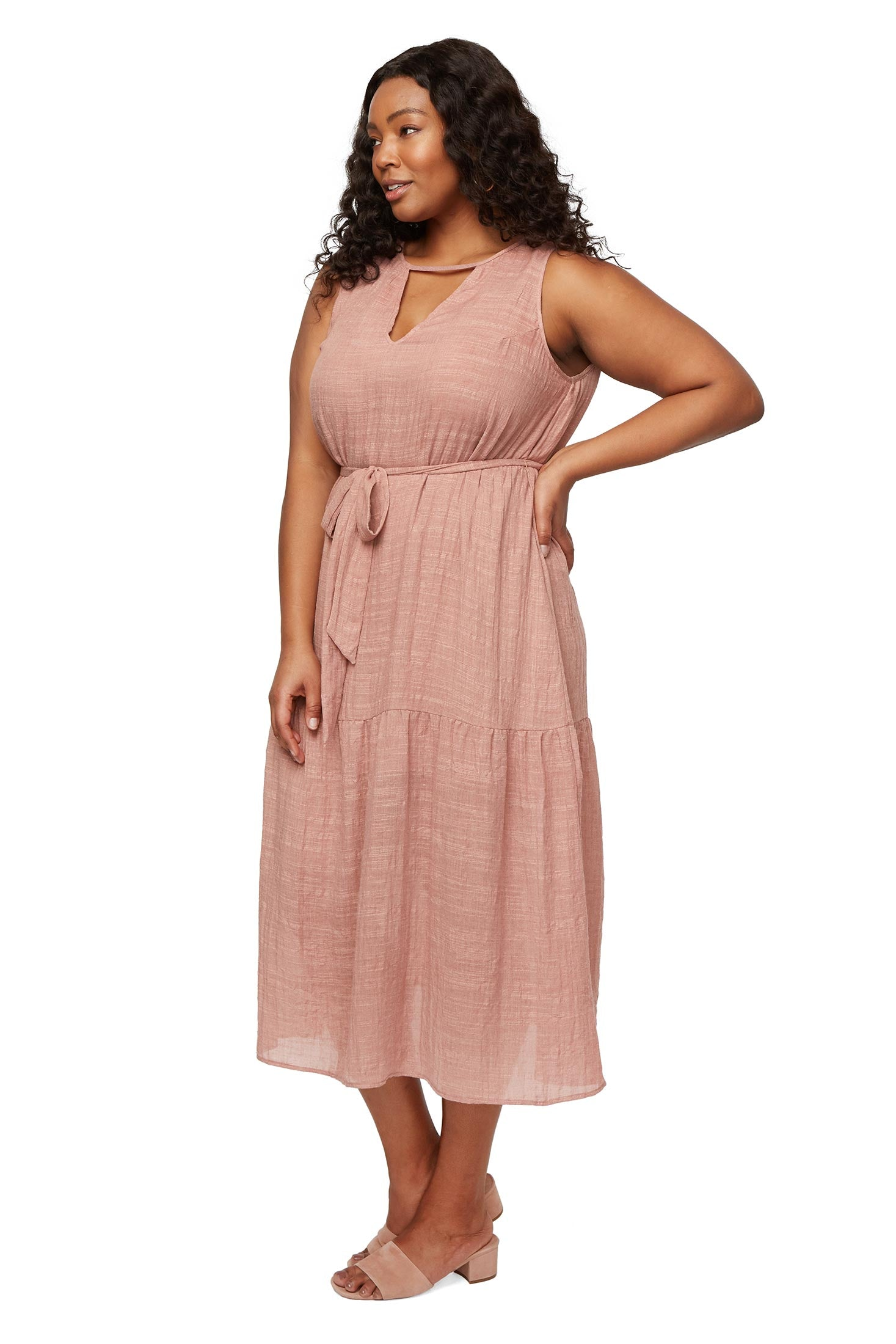 Guaze Lanna Dress - Mauve, Plus Size