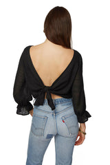 Gauze Reversible Joanne Top - Black