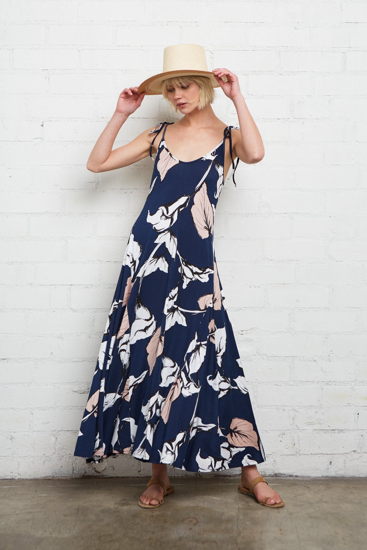 Gloria Dress - Navy Calla Print