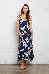 Gloria Dress - Navy Calla Print, Maternity