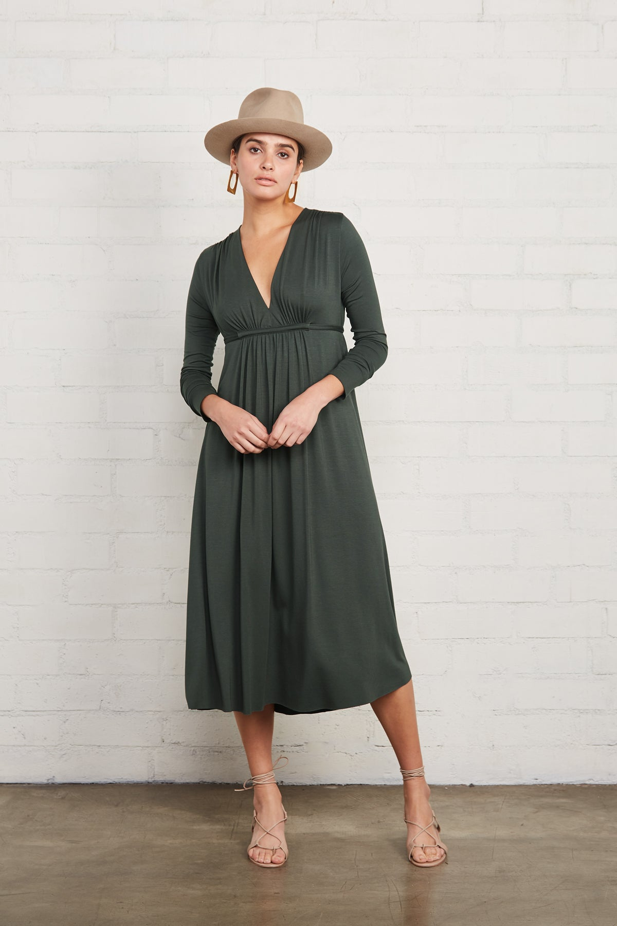 Long Sleeve Mid-Length Caftan Dress - Juniper