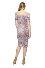MID-LENGTH JAGGER DRESS PRINT - CURRANT VIPER